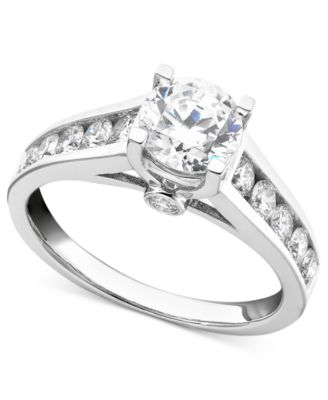 diamond engagement ring in 14k white gold 34 ct tw