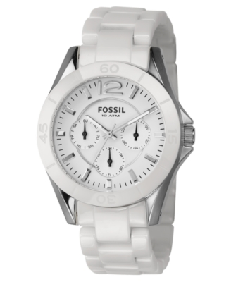 Fossil Watch, White Stainless Steel and Ceramic Bracelet CE1002