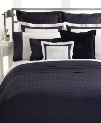 "CLOSEOUT! Lauren Ralph Lauren Bedding, White with Navy Glen Plaid Cuff 12"" x 16"" Decorative Pillow"