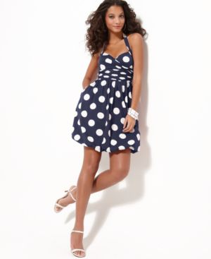 Jessica Simpson Dress, Cotton Halter With Large Polka Dots
