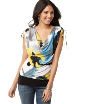 NY Collection Top, Drawstring Sleeve Cowlneck