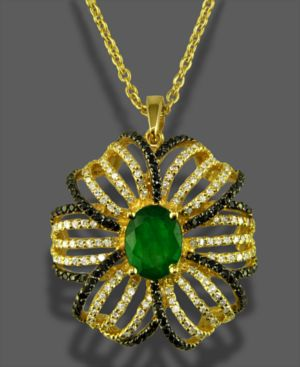 Effy Collection 14k Gold Pendant, Emerald (1-1/2 ct. t.w.) and Diamond (1-1/3 ct. t.w.) Flower