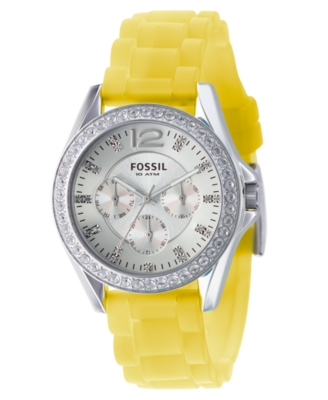Fossil Watch, Women's Yellow Silicone Strap ES2525