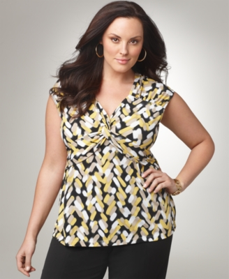 Alfani Plus Size Top, Sleeveless Knot Front V-Neck