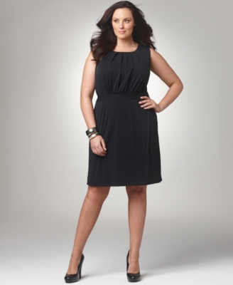 Alfani Plus Size Dress, Sleeveless Pleated Neckline