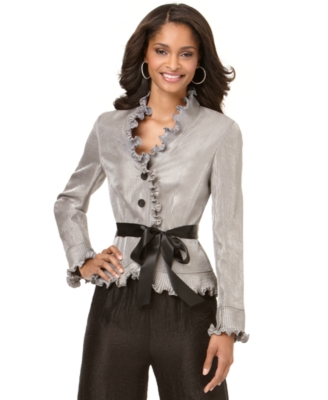 Adrianna Papell Blouse, Long Sleeve Pleated Ruffled