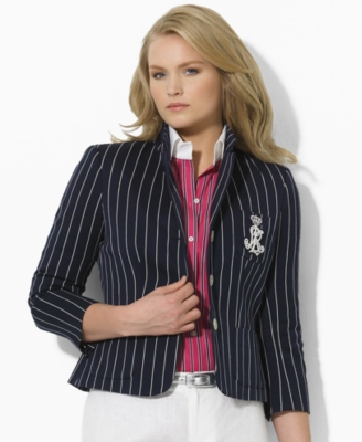 Lauren by Ralph Lauren Plus Size Jacket, Carmona Three-Quarter Sleeve Striped Crested