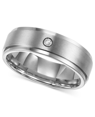 Men's Titanium Ring, Diamond Accent (Size 8-15)