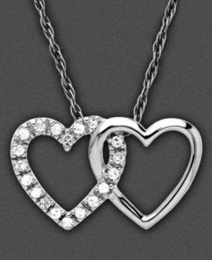 14k White Gold Pendant, Diamond Accent Interlock Hearts