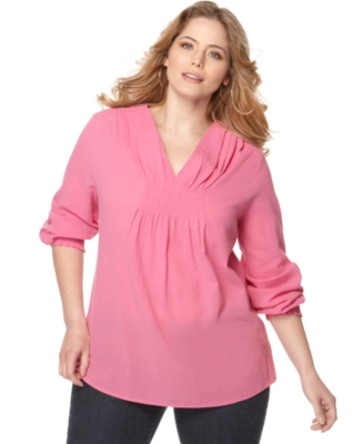 Michael Kors Plus Size Top, Long Sleeve V-Neck