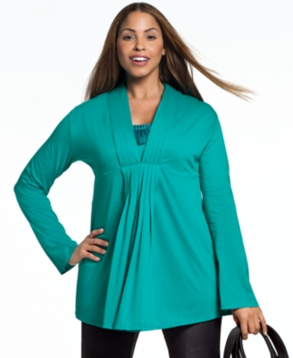 Alfani Plus Size Cardigan, Long Sleeve Pleated