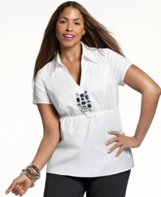 Alfani Plus Size Shirt, Short Sleeve Stone Front