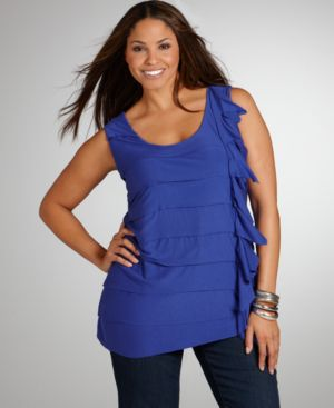 Alfani Plus Size Top, Tiered Ruffled Tank