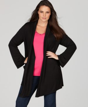 Style&co. Plus Size Cardigan, Fluid Knit Open