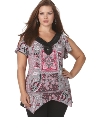 NY Collection Plus Size Top, Split Sleeve Embellished Mixed Paisley