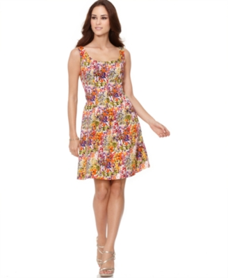 Nine West Dress, Sleeveless Scoop Neckline Ditsy Floral