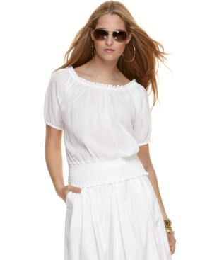 MICHAEL Michael Kors Top, Short Sleeve Smocked Peasant