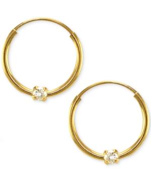 Children's 14k Gold Earrings, Cubic Zirconia Accent Hoop