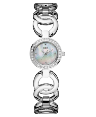 GUESS Watch, Women's Crystal Bezel Stainless Steel Bracelet U95154L1