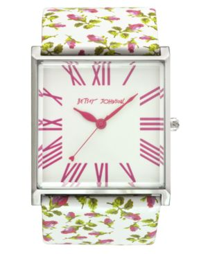 Betsey Johnson Watch, Women's Rose Print Leather Strap BJ2159