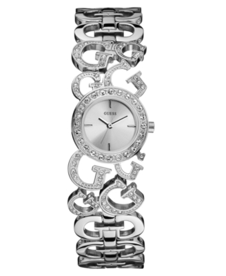 GUESS Watch, Women's Crystal Accent Silvertone Bracelet U11605L1