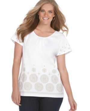 Charter Club Plus Size Top, Flutter Sleeve Embroidered Medallion