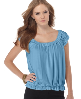 Studio M Top, Ruffled Knit Peasant