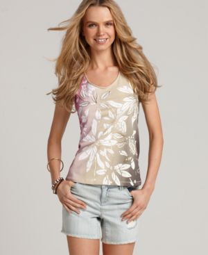 Tommy Hilfiger Top, Sleeveless Ada Ombre Floral Scoop Tank
