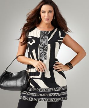 Alfani Plus Size Top, Cap Sleeve Printed Tunic