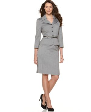 Tahari Suit, Belted Jacket & Pleated Skirt Suit