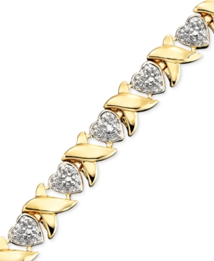 "Victoria Townsend 18k Gold over Sterling Silver Bracelet, Diamond Accent Heart Link 7-1/4"" Bracelet"