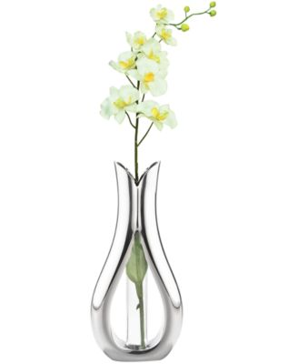 Nambe Tulip Bud with Silk Orchid Vase