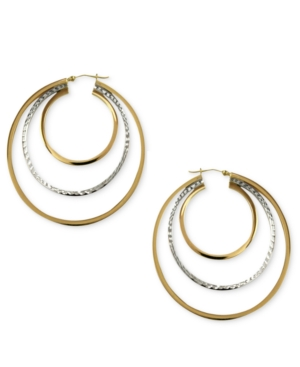 14k Gold and Sterling Silver Earrings, Triple Oval Hoop