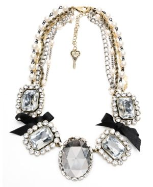Betsey Johnson Iconic Necklace, Crystal Bow