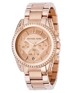 Michael Kors Watch, Women's Chronograph Blair Rose Gold Tone Stainless Steel Bracelet 41mm MK5263