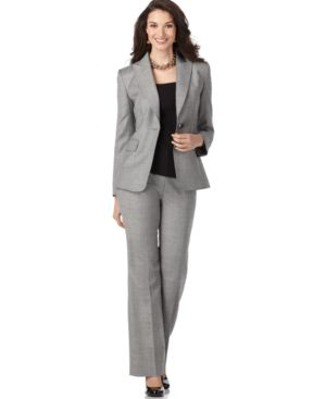 Tahari Suit, Single Button Jacket & Straight Leg Pants - Suits