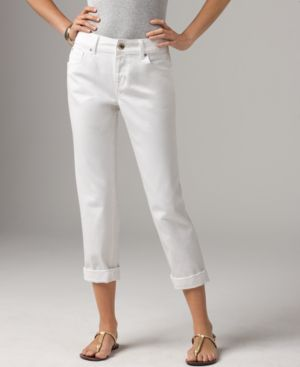 DKNY Jeans Slim Leg Jeans, Boyfriend Soho Cropped Bleach White Wash