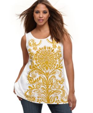 INC International Concepts Plus Size Top, Printed Tank with Studs