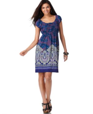 Tiana B Dress, Cap Sleeve Mixed Print - Clothes