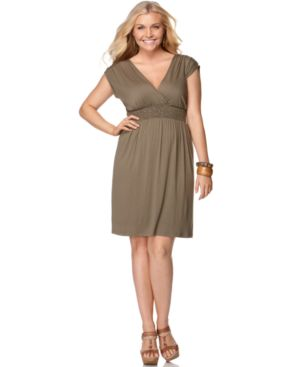 Soprano Plus Size Dress, Cap Sleeve Smocked Empire