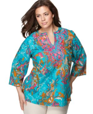 Charter Club Plus Size Top, Three Quarter Sleeve Embroidered Printed Kurta