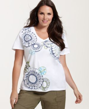 Style&co. Plus Size Top, Short Sleeve Print with Studs