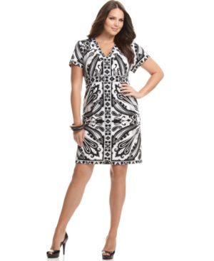 NY Collection Plus Size Dress, Short Sleeve Printed Empire