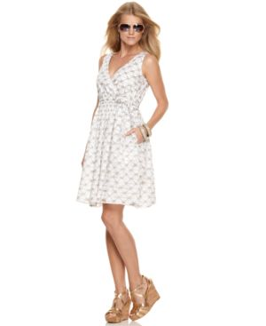 MICHAEL Michael Kors Dress, Sleeveless Cinched Waist Printed - Clothes