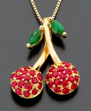 14k Gold Pendant, Ruby (3/4 ct. t.w.) and Emerald (3/4 ct. t.w.) Cherry