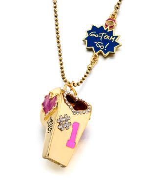 Betsey Johnson Necklace, Varsity Crush Whistle
