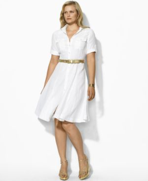 Lauren by Ralph Lauren Plus Size Dress, Michelle Linen Shirtdress