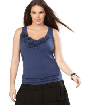 INC International Concepts Plus Size Top, Sleeveless Rosette Trim Tank