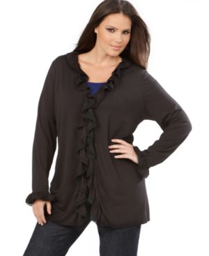 INC International Concepts Plus Size Cardigan, Long Sleeve Ruffled Trim Cozy