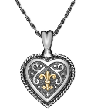14k Gold and Sterling Silver Pendant, Scroll Heart Chain